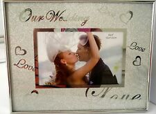 """""""OUR WEDDING LOVE LOVE LOVE"""" BEAUTIFUL SPARKLY SILVER PHOTO FRAME WITH STAND BN"""
