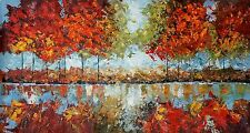 Abstract Landscape Oil on canvas,hand painted, Palette Knife Large Colourful.