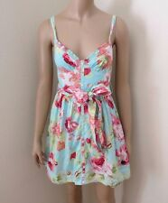 NWT Abercrombie Womens Floral Dress Size Small Light Blue & Red Ribbon Bow