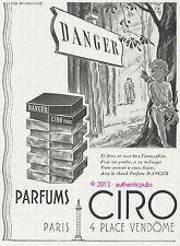 PUBLICITE PARFUM CIRO DANGER ANGE CUPIDON PLACE VENDOME DE 1943 FRENCH AD PUB