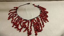 "Vintage Brown Cord Red Jasper Stone Shard Bead Fringe Collar 18"" Necklace"
