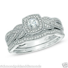 White Gold Halo Antique Vintage Style Round Diamond Wedding Bridal Set Ring Band