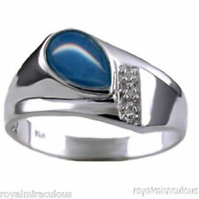 Mens Diamond Ring Blue Star Sterling Silver or Gold Plated Silver