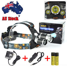 Rechargeable 13000LM 3*XM-L LED HeadLamp Head Light Torch 2*18650 AC/CAR Charger