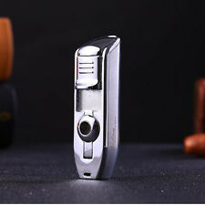 New Jobon Triple 3 Jet Flame Cigar Cigarette Refillable Gas Torch Lighter Silver