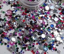 Nail Art Sparkly Rhinestones Gem Stones Mix Pot Shape Sizes Nail Tip Decoration