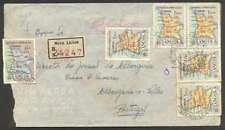 Angola To Portugal Air Register Cover 1959 6 Map Stamps L@@K