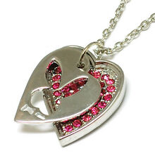 BRAND..NEW..SILVER..PLATED PLAYBOY BUNNY OPEN HEART. WITH PINKCZ...PENDANT..