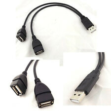 Double Dual USB 2.0 A Female To USB Male Cable Extension Cord Lead Power Adapter