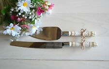 Ivory Color Cake and Knife Rustic Wedding Serving Set - FREE SHIPPING !!