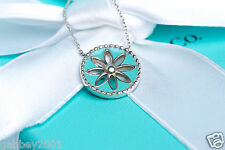 "Tiffany & Co. RARE Silver Blue Enamel Daisy Flower Round Pendant 18"" Necklace"