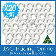 20 x NYLON SISTER CLIPS - Boat/Yacht/Sailing/Marine/Nautica/Flag/Pennant Staff