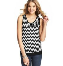 NWT Ann Taylor Loft Stripe Sheer Wavy OpenStitch Scoop Sleeveless Sweater Tank S