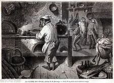 Cucina di Scimmie,di Decamps.Scimmiottatura.Caricatura.Satira.Stampa Antica.1860