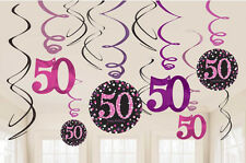 12 x 50th Birthday Hanging Swirls Black & Pinks Party Decorations Age 50 FREE PP