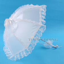 "25"" Victorian Art Ruffled Lace Sun Parasol Wedding Bridal Party Umbrella White"