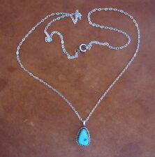 Navajo Silver Necklace with Turquoise Setting, Signed JM