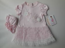 GORGEOUS BISCOTTI BABY GIRL PINK BUNNY DRESS + KNICKERS SIZE 1 FITS 12M