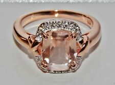 Beautiful 9ct Rose Gold on Silver Morganite & Simulated Diamond Ring - size N