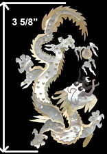 PH113# Dragon Headstock Inlay Gold, Black Mother of Pearl, White Mother of Pearl