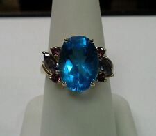 10k Yellow Gold Ring 6.72tcw Blue Topaz Amethyst Pink Tourmaline Size 8.25