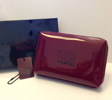 Chanel Burgundy Makeup Cosmetic Bag Pouch Clutch with ornament NIB *Rare Set*