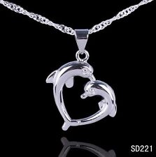 Fine     LF Silver CZ 2-Dolphin Necklace's Pendant