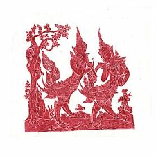 """Thai Temple Rubbing - Red/Maroon - Mythical Beings - 24"""" x 24"""" -          2412RD"""