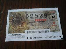 Billete de lotería nacional 27/06, anémona tubícula, serie fauna marina.