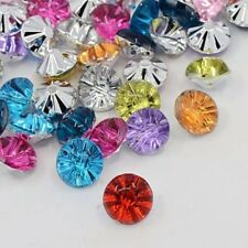 20 Acrylic Rhinestone Mixed Colour Rivoli 1 Hole Buttons 13x8mm (BOX70)