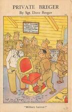 PRIVATE BREGER MILTARY HAIRCUT POST EXCHANGE BARBER SHOP COMIC POSTCARD 1942