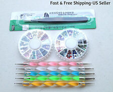 1 Steel Nippers Tweezers & 5 Nail Dotting Pens & 1200pcs 12 Colors Rhinestones