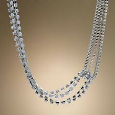 Jennifer Lopez JLo Silver Tone Simulated Crystal Swag Necklace