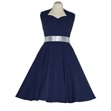 Rockabilly 50er Neckholder  Kleid Petticoat Pin Up Party Baumwolle S/M 101 Blau