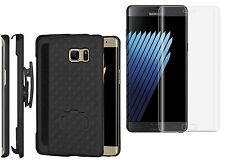 Samsung Galaxy Note 7 Tempered Glass With Shellster Shell Case Belt Clip Cover