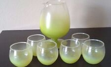 Vintage 60s BLENDO Snifter Set 6 Roly Poly Glasses Yellow Green Chartreuse NICE!