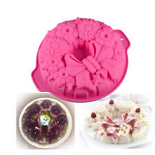 Pastry Large Round Bow Silicone Mold Loaf Pan for Muffin, Cake, Pudding,Bread