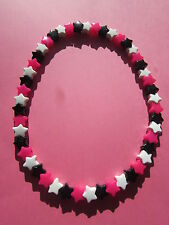 Neon Pink Black White Plastic Star Bead Elastic 16 inch Necklace Retro Emo Goth