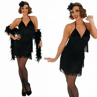 Ladies Sexy Black 1920s Flapper Girl Fancy Dress Costume Outfit 8-22 Plus Size