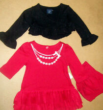 BABY GAP 2PC RED TULLE RUFFLE DRESS, BLACK GLITTER RUFFLE SWEATER 0-3 Mos.