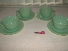 Anchor Hocking Fire King Jadeite Jane Ray Coffee Sets (4) USA