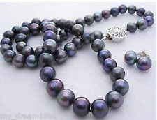 Natural 7-8mm Black Freshwater Pearl Necklace 925 Silver Stud Earrings Set
