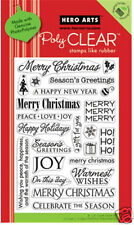 HERO ARTS Clear Stamps HOLIDAY SAYINGS # CL343 MERRY CHRISTMAS PEACE JOY HOHOHO