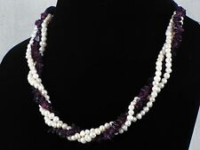 Moroccan Amethyst Chip & Pearl Beaded Ethnic Style Necklace Adjustable Length