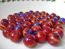 NEW 50 ODIN 14mm BLUE RED GLASS MARBLES TRADITIONAL COLLECTORS ITEMS