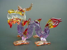 Glass DRAGON, SERPENT, Purple, Decorative Glass Animal Ornament, Glass Figure