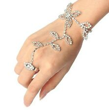Silver Diamonte Fashion Bracelet Harness Cuff Ring Set Wedding Flower Hand NEW