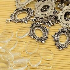 10sets Pendant Making Silver Alloy Settings Oval Cabochons Bead TIBEP-MSMC021-36