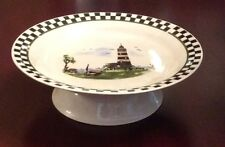 LIGHTHOUSE PEDESTAL CAKE PLATE REVERSE BOWL CHECKERBOARD RIM