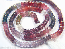 "7"" Natural Multi Color Spinel Faceted Rondelle Gem Beads - Red Peach Pink 3.5mm"